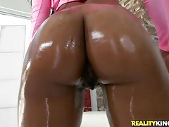 Alison buried his dick in just about every part of her body. She started deepthroating it then she wrapped her tits around it followed by the hungry pussy making it disappear. He pounded that ass and made her tits fully animated. She was all kinds of stic